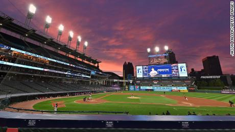 A general stadium view during Game One of the American League Wild Card Series between the Cleveland Indians and the New York Yankees at Progressive Field on September 29, 2020 in Cleveland, 俄亥俄.