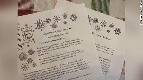 "Stephanie Davisson created a template to make custom-written ""letters from Santa."" The notes tell kids celebrating Christmas on days other than December 25th that St. Nick will still show up."
