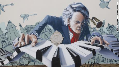 A mural shows German composer Ludwig van Beethoven on a house facade in his birth city of Bonn, Germany.