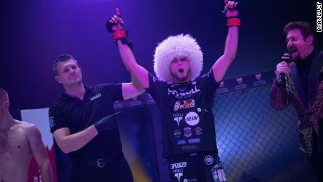 Mokaev celebrates after a victory.