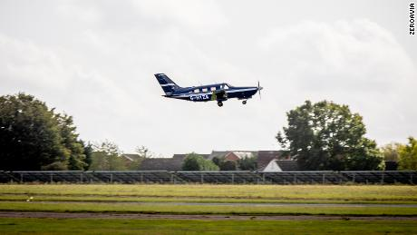 A six-seater Piper Malibu M350 flies with ZeroAvia's powertrain at Cranfield, England in September.