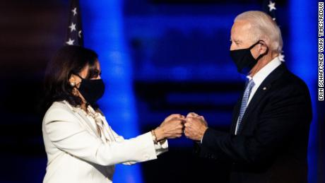President-elect Joe Biden and Vice President-elect Kamala Harris greet each other on stage in Wilmington, Delaware, where they delivered their victory speeches on November 7.