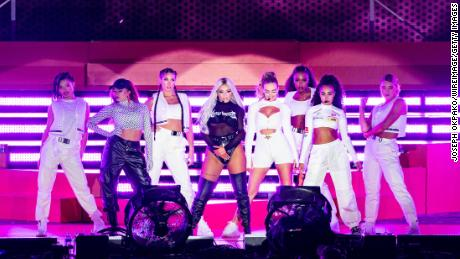 Jade Thirlwall, Jesy Nelson, Perrie Edwards and Leigh-Anne Pinnock  perform on stage in 2019.
