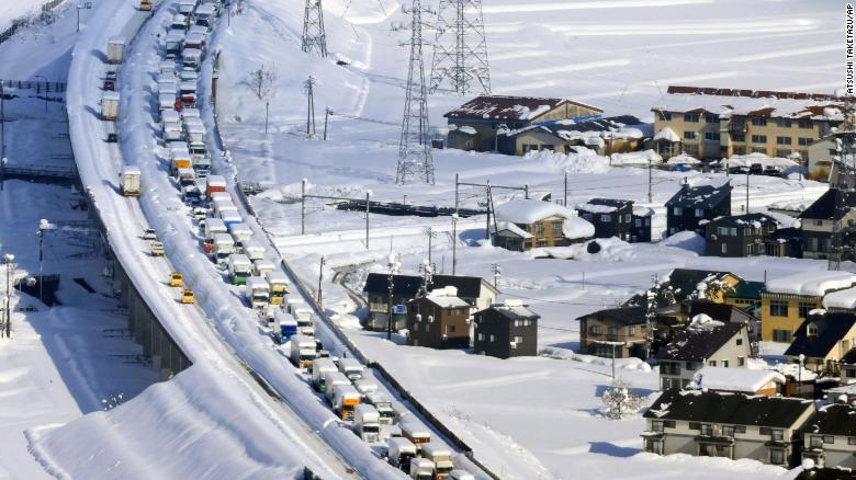 1,000 people stuck overnight in Japan traffic jam stretching 9 miles long