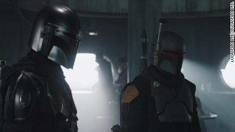 The Mandalorian (Pedro Pascal) and Boba Fett (Temuera Morrison) in 'The Mandalorian' season finale (Lucasfilm Ltd.).