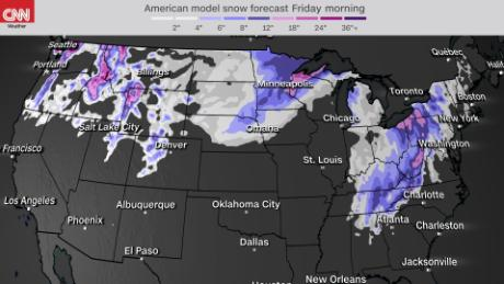 7 day snowfall accumulation through Christmas morning - GFS model
