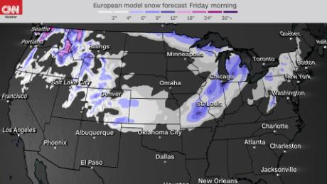 7 day snowfall accumulation through Christmas morning - Euro model