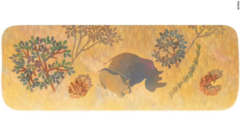 Google Doodle pays tribute to the last male northern white rhino