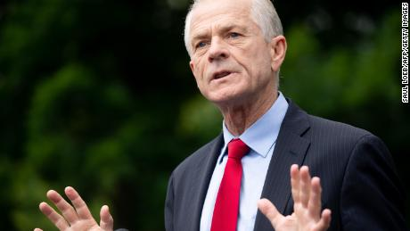 Peter Navarro speaks to the press outside of the White House in June 2020.