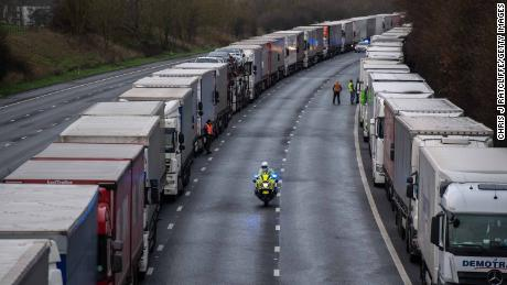 Truck are stacked along the M20 motorway as the border to France is closed on Dec. 22 in Sellindge, United Kingdom.