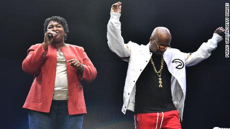 Then-gubernatorial contender Stacey Abrams appears with Dupri at 2018 concert in Atlanta.
