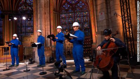 Cello player Gautier Capucon and the Notre Dame cathedral choir record a Christmas concert on December 19.