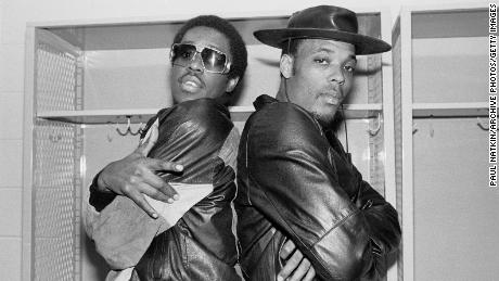 Portrait of members of the American Hip-hop group Whodini, Jalil Hutchins (links) and John Fletcher (aka Ecstasy) as they pose backstage at the UIC Pavilion, Chicago on October 20, 1984.