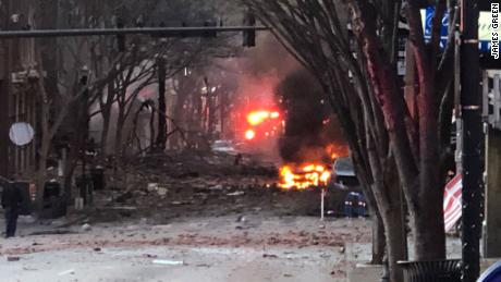 The scene of an explosion in downtown Nashville on Christmas morning.