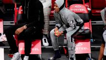 Ja Morant returned to watch the remainder of the game wearing a protective boot.