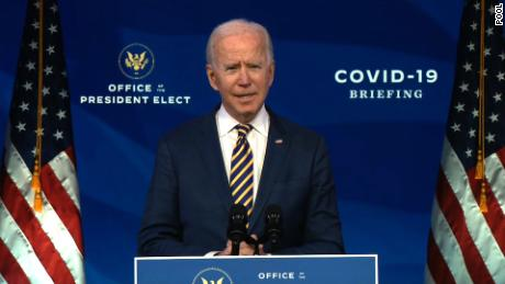 President-elect Joe Biden speaks at the Queen Theater on December 29 in Wilmington, Delaware.