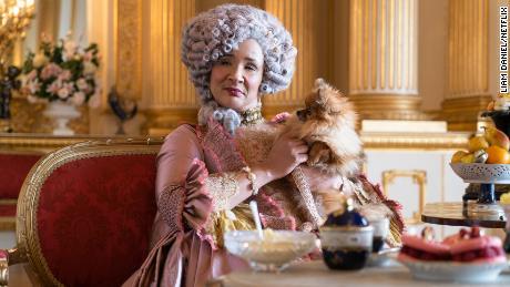 Golda Rosheuvel performs as Queen Charlotte, wife of King George III.