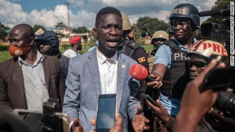 Bobi Wine addresses the media after his car was shot by police in Jinja during his campaign trail on December 1, 2020