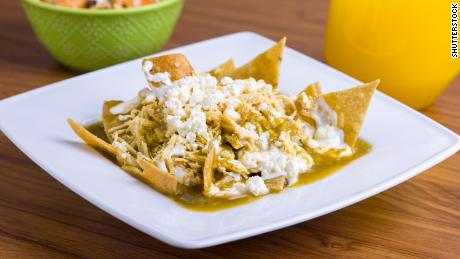 Chilaquiles can be made with salsa verde or red enchilada sauce, your choice.