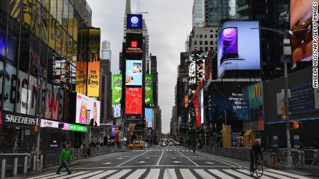 A view of Time Square ahead of New Year's Eve events on December 28, 2020 in New York City. (Photo by Angela Weiss / AFP) (Photo by ANGELA WEISS/AFP via Getty Images)