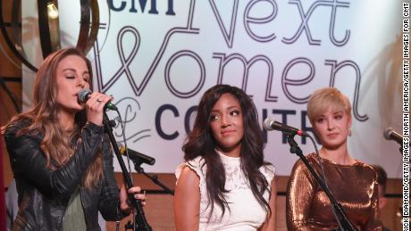 "Singer-songwriters Tara Thompson, Mickey Guyton and Maggie Rose perform during CMT's ""Next Women of Country"" event on November 1, 2016 in Nashville."