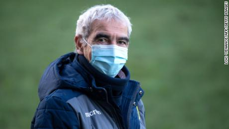 FC Nantes new head coach Domenech arrives to lead a training session.
