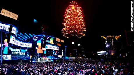 Fireworks are launched from the Taipei 101 commercial building to celebrate the New Year in Taipei.