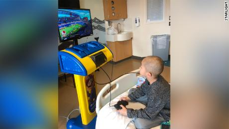 Lyndon was the very first patient at Mary Bridge to play on the newest version of Starlight Gaming.