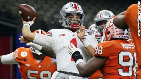 Justin Fields passes against the Clemson Tigers in the third quarter  at the Allstate Sugar Bowl.