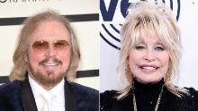 """Bee Gees singer Barry Gibb (left) and Dolly Parton (right) have teamed up for a remake of the Bee Gees' classic song """"Words."""""""