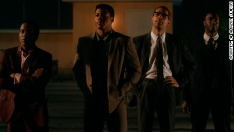 "(From left) Leslie Odom Jr., Eli Goree, Kingsley Ben-Adir and Aldis Hodge star in ""One Night in Miami."""