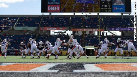 The Auburn Tigers compete against the Northwestern Wildcats during the Vrbo Citrus Bowl at Camping World Stadium on January 1, 2021, in Orlando, Florida.