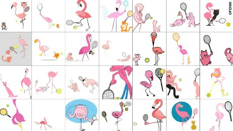 """DALL-E has a harder time with more complicated prompts; this one requested """"an illustration of a flamingo playing tennis with a cat""""."""