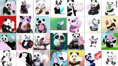 These pandas eating cotton candy were produced by an AI model named DALL-E.