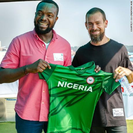 Bosun Tijani with Twitter CEO Jack Dorsey on his visit to Lagos, Nigeria