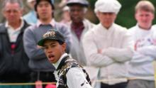 High school student  Woods, 17, reacts after dropping a birdie putt on the 15th hole of the Los Angeles Open at the Riviera Country Club in Los Angeles, Calif., on Thursday, Feb. 25, 1993.