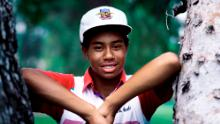 Woods practises on Griffith Park golf course as a 16-year old in 1991.
