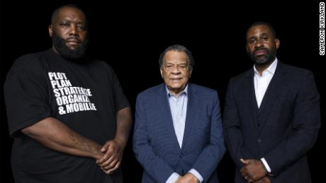 "Greenwood founders Michael ""Killer Mike"" Render, Ambassador Andrew J. Young and Ryan Glover."