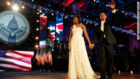 President Barack Obama and First Lady Michelle Obama attend the Neighborhood Inaugural Ball at the Washington Convention Center on January 20, 2009, in Washington, DC.