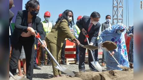 Ethiopian Health Minister Lia Tadesse and Liu Yuxi, head of the Chinese Mission to the African Union, and other guests attend the groundbreaking ceremony for the China-aided Africa Centers for Disease Control and Prevention (Africa CDC) headquarters in Addis Ababa, Ethiopia in December 2020.
