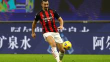 Zlatan Ibrahimovic passes the ball during the Serie A match between AC Milan and Torino.