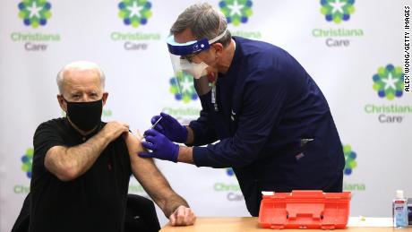 Biden receives second dose of coronavirus vaccine on camera