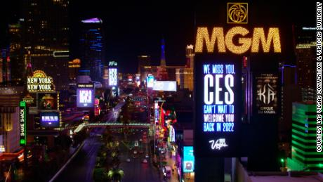 "On Monday, more than a dozen marquees along the Las Vegas Strip were lit with the message: ""We miss you, CES. Can't wait to welcome you back in 2022."""