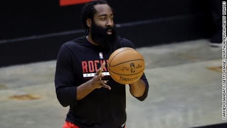 Harden warms up prior to facing the LA Lakers at Toyota Center.