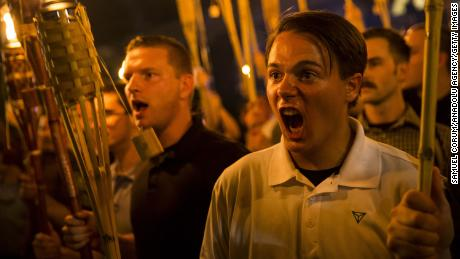 White supremacists demonstrating in Charlottesville, Virginia, on August 11, 2017.