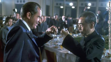 President Richard Nixon toasting Chinese Premier Zhou Enlai at banquet in China in 1972.