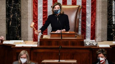 Pelosi gavels in the final vote of the impeachment of President Donald Trump.