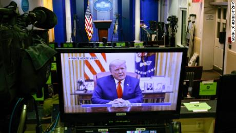 In video released by the White House, Trump does not mention impeachment.