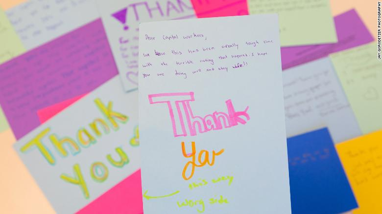 Middle schoolers send thank you notes to US Capitol workers