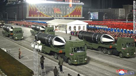 Weapons that appear to be submarine-launched ballistic missiles are shown during a military parade celebrating the 8th Congress of the Workers' Party of Korea in Pyongyang on January 14, 2021.